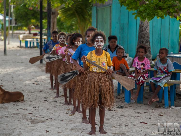 Kids traditional Papuan dance